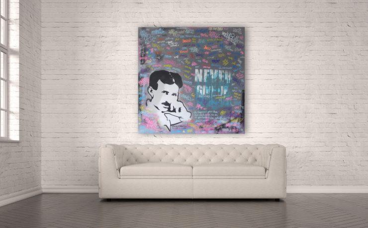 Street Art Nikola Tesla 80x80 cm